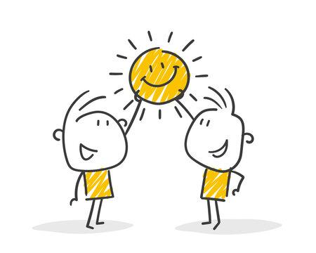 Strichfiguren / Strichmännchen: Sonne, Sommer. (Nr. 635)