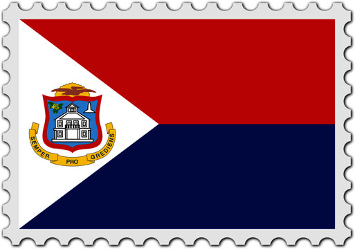 stamp flag of sint maarten vector - editable flags and maps