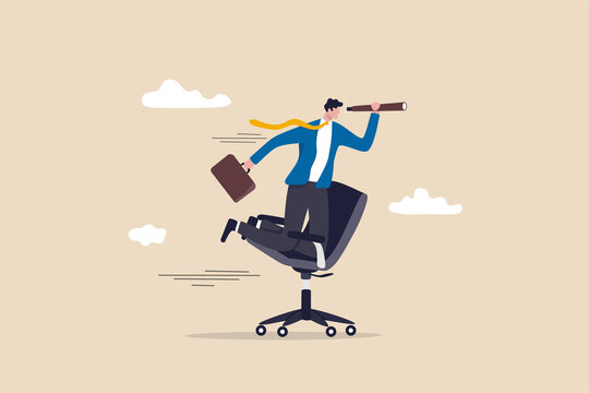 Career future, new job opportunity or visionary to success in work concept, businessman riding office chair using telescope to see future and the way forward.