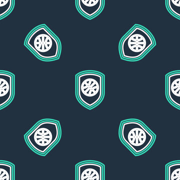 Line Sports shop and basketball ball icon isolated seamless pattern on black background. Sport store. Vector