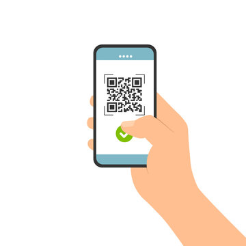 Flat design illustration of male hand holding touch screen mobile phone. Successful QR code scan for payment, vector