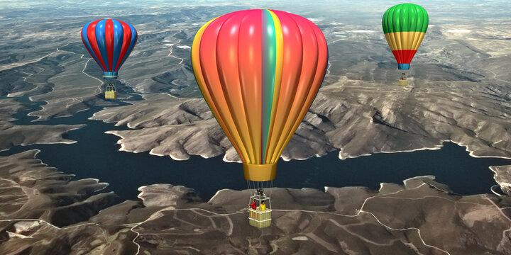 3d Heißluftballons im Gebirge über den Bergen und Flüsse