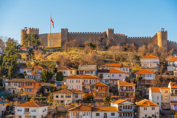 Fototapeta OHRID, NORTH MACEDONIA: The Old Fortress of King Samuel or Samuel's Stronghold in Ohrid, a UNESCO World Heritage Site