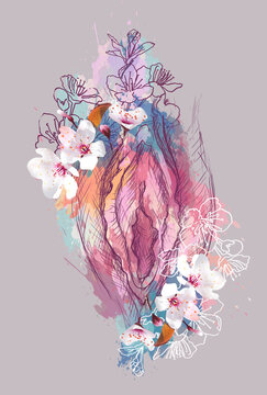 Vulva image in the shape of a flower. Yoni illustration of female energy concept.