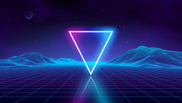Retro futuristic background for game. Music 3d dance galaxy poster. 80s background disco. Neon triangle synthwave digital wireframe landscape with palms. Space vector.