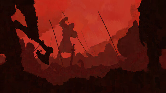 End of the battle. Vikings kill wounded warriors against the background of a bloody sky. 2D illustration.