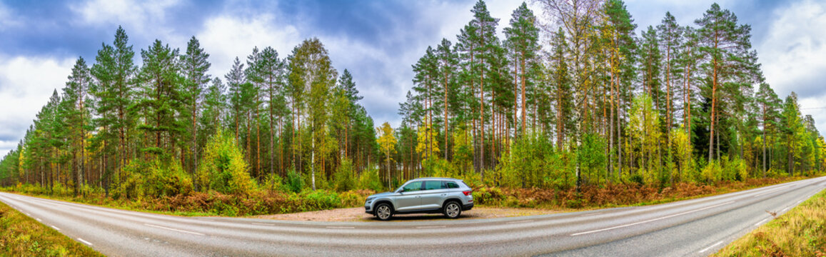 Sweden,Vimmerby-October 2020: Skoda Kodiaq parked in autumn forest. Mid size SUV manufactured by the Czech automaker Skoda Auto. The vehicle is based on VW Group's modular MQB platform.