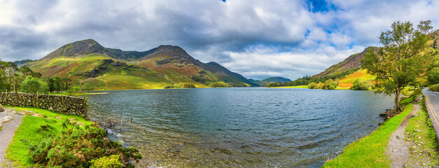 Fototapeta Sunny panorama of Buttermere lake in Lake District. England