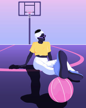 Woman sitting resting feet on basketball vector illustration