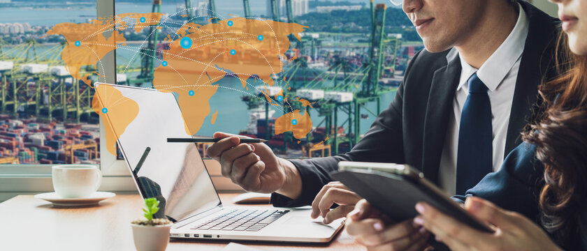 Banner photo of global logistics network business connection concept and smart AI technology with industrial container cargo freight ship and Logistic Import Export background