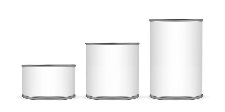 cans of different sizes isolated on white background mock up vector