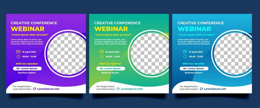 Set of Webinar social media template. Modern banner design with purple, green, and blue color. Vector design with place for the photo. Usable for social media post, flyers, banners, and websites.