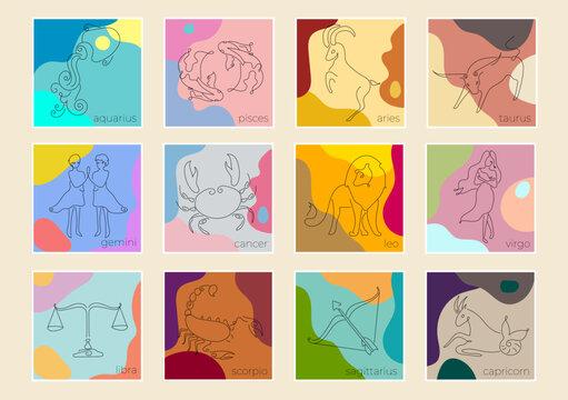 Zodiac sign set. color palette zodiac signs. zodiac colors. social post.
