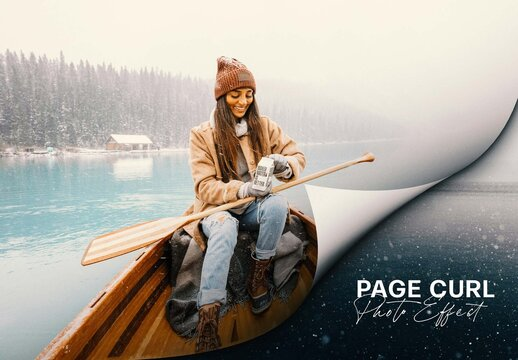 Page Curl Photo Effect Mockup