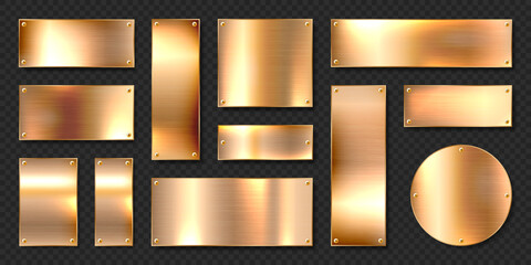 Fototapeta Realistic shiny metal banners set. Brushed steel plate with screws. Polished copper metal surface. Vector illustration.