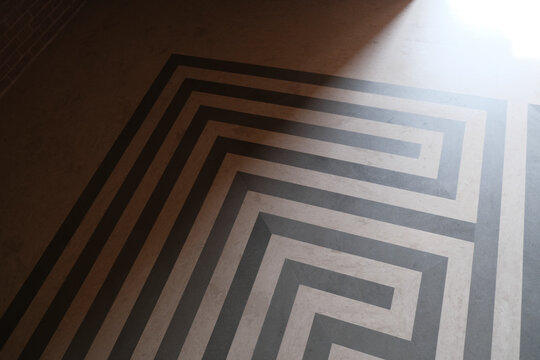 floor with black and white marble maze geometric background