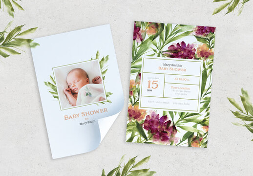Baby Shower Watercolor Style Invitation Layout