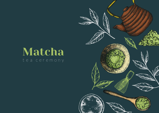 Vector illustration of matcha tea advertising horizontal banner on dark green. Flyer or publication about the tea ceremony