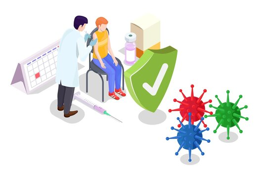 Covid coronavirus vaccination concept vector illustration isometric style. Covid-19 vaccine. Doctor makes an injection of flu vaccine to kid in hospital. People immunity and virus protection