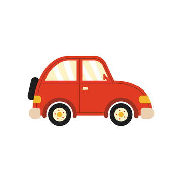 Retro car on white isolated background, simple style vector illustrations