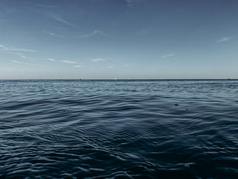 Lake Michigan water landscape with blue sky in Chicago