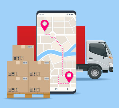 Delivery truck with cardboard box, mobile phone. Delivery service via modern technology. Tracking system. Mobile App.