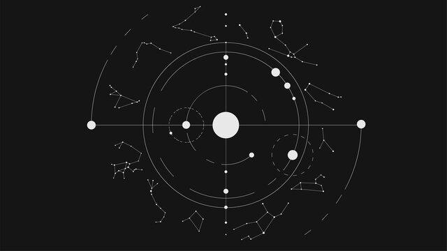 White minimalistic solar system and zodiac constellations on black background