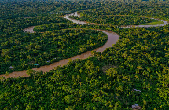 Aerial view over a tropical forest with a river meandering through the canopy of the rainforest and houses of indigenous people of the amazon visible along the river