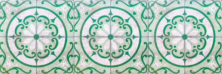 Fototapeta Panorama of Vintage antique white and green ceramic tile pattern texture and seamless background