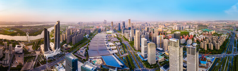 Aerial photography of the modern urban architectural landscape of Nanjing, China