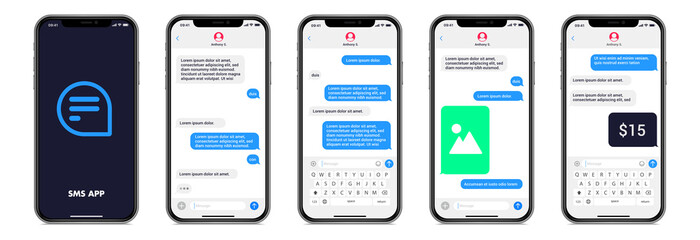 Fototapeta Mobile chatting sms app template bubbles. Chat messages composer. Isolated smartphone mockup with bubbles,, text, image, payment on white background. Modern vector illustration. obraz