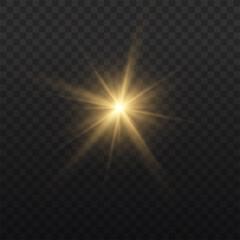 Fototapeta Star burst with light, yellow sun rays.  obraz