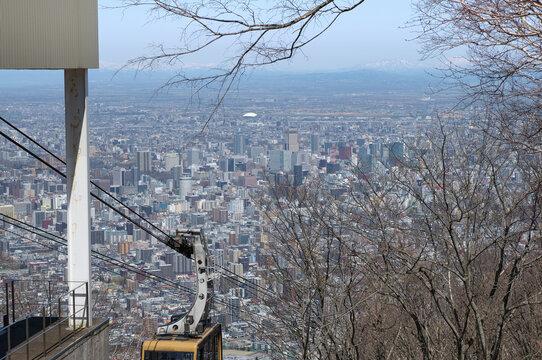 札幌藻岩山展望台中腹駅からの眺望