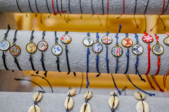 Hand bracelets white stone. Handmade bijouterie