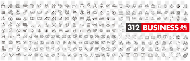 Fototapeta business contacts icons set vector