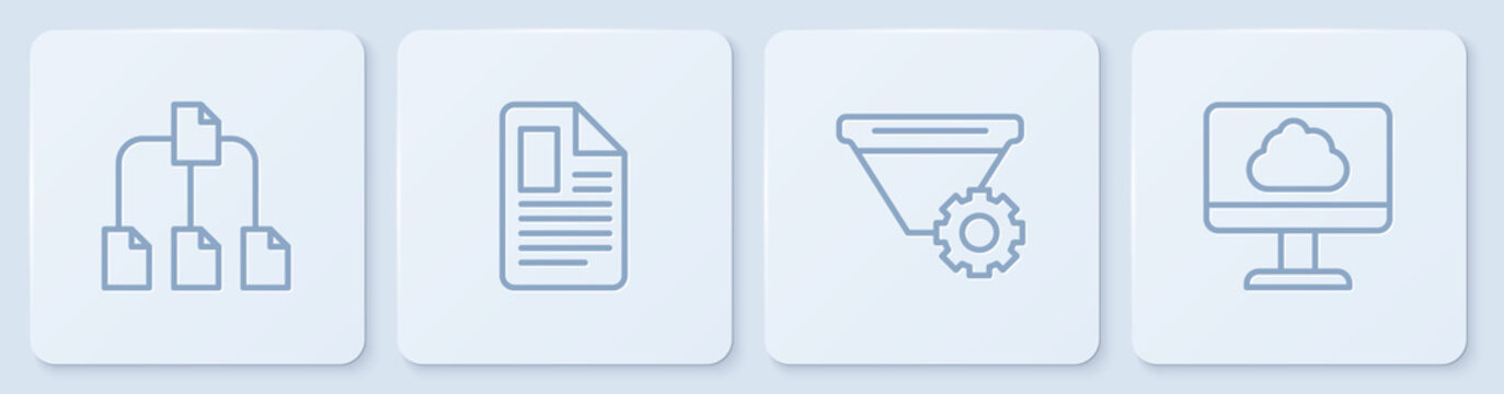 Set line Folder tree, Filter setting, File document and Cloud technology data transfer. White square button. Vector