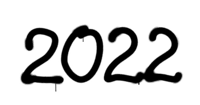2022 year sign spray painted isolated