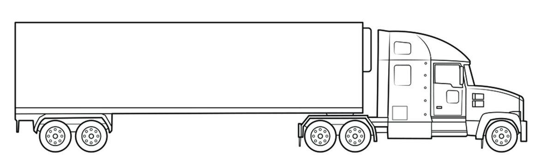 American modern long haul truck illustration  - simple line art contour of vehicle.