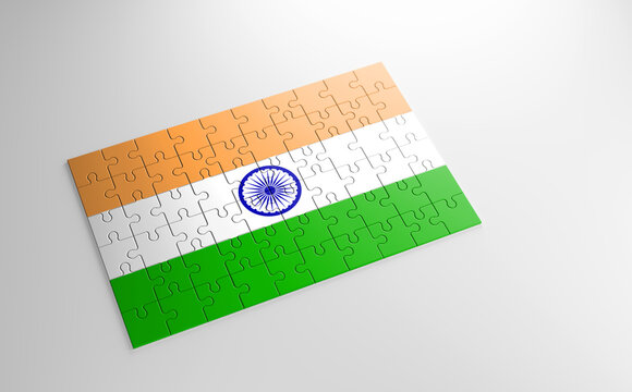 A jigsaw puzzle with a print of the flag of India, pieces of the puzzle isolated on white background. Fulfillment and perfection concept. Symbol of national integrity. 3D illustration.