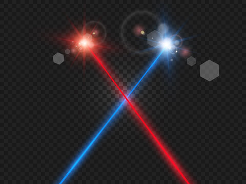 Abstract color laser beam. Transparent is isolated on a black background. Vector illustration. Red. Gold. Green. Blue.
