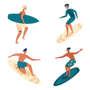 Vector set with people who surf. Young guys surfing. Extreme and summer sport. Flat illustration.