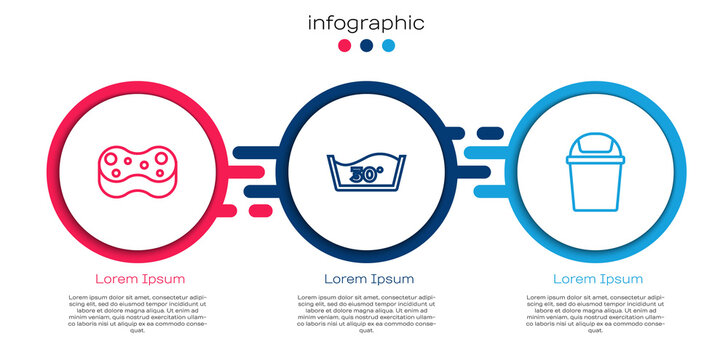 Set line Sponge, Temperature wash and Trash can. Business infographic template. Vector