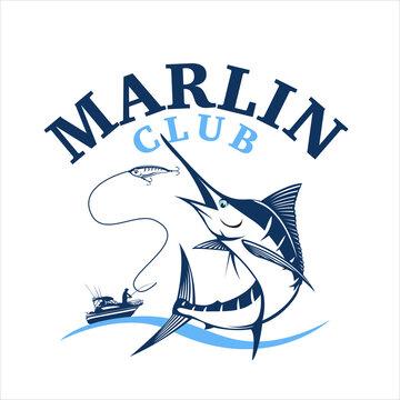 Marlin fishing logo, vector illustration