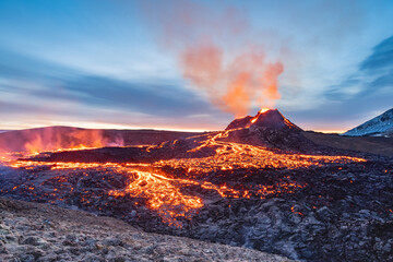 Obraz fagradalsfjall volcano eruption, iceland, volcano, sunrise light, lava show - fototapety do salonu
