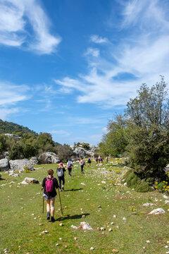 lady hiking group at walking at hill