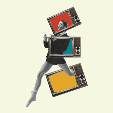 Contemporary art collage, modern design. Retro style. Beautiful woman in casual running throught TV boxes