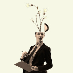 Contemporary art collage, modern design. Retro style. Beautiful woman in office suit with head, full of ideas and flowers, inspired