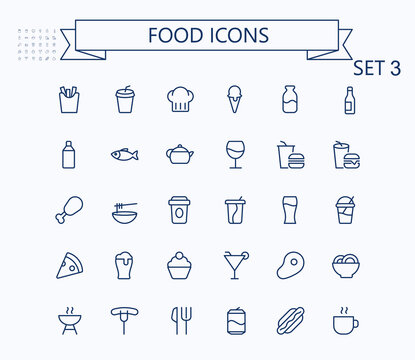 Food and drink line mini icons set. 24x24 px. Pixel Perfect. Editable stroke.