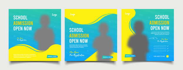 Fototapeta School admission open now social media post and web banner template