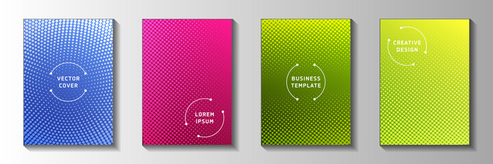 Obraz Simple circle perforated halftone title page templates vector kit. Corporate journal faded halftone - fototapety do salonu